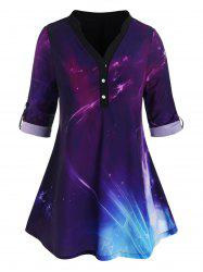 Button Front Tab Sleeve Galaxy Plus Size Top -