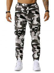 Camo Print Multi-pocket Drawstring Cargo Pants -