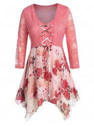 Plus Size Lace Sheer Flower Lace-up Hanky Hem Blouse -