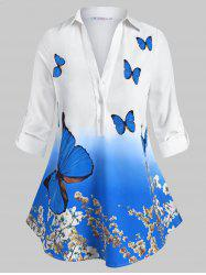 Button Front Tab Sleeve Floral Butterfly Plus Size Shirt -