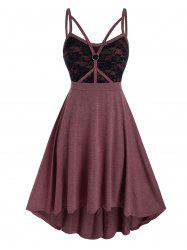 Plus Size Lace Panel Caged Strap Backless Cami Dress -