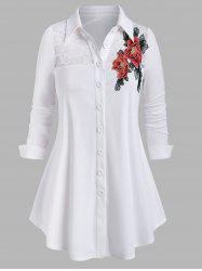 Plus Size Lace See Thru Flower Applique Button Up Shirt -
