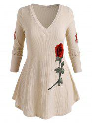 Plus Size Flower Embroidery Curved Hem Ribbed Sweater -