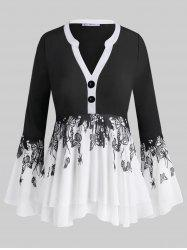 Button Front Layered Insect Butterfly Plus Size Blouse -