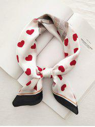 Heart Plaid Houndstooth Printed Satin Square Scarf -