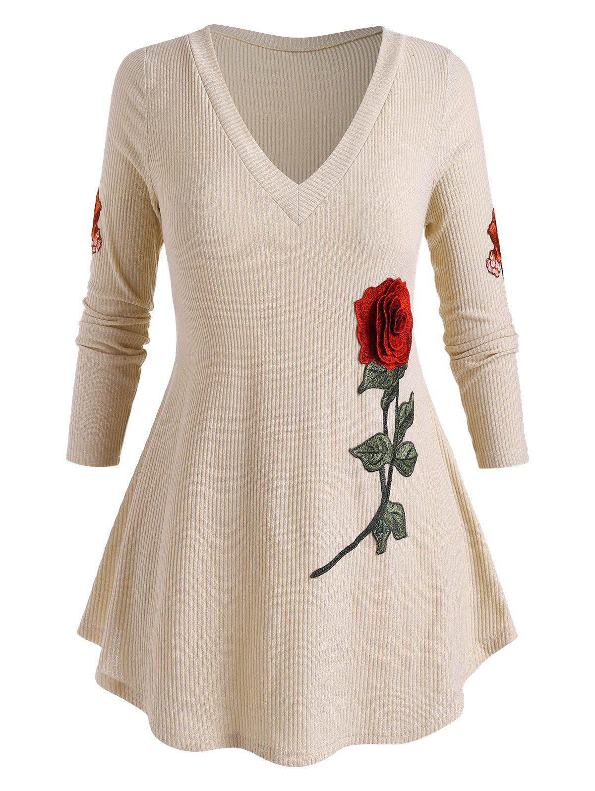 Affordable Plus Size Flower Embroidery Curved Hem Ribbed Sweater