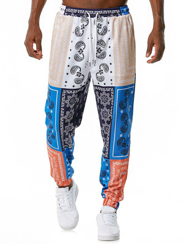 Discount Drawstring Contrast Paisley Flower Print Casual Pants