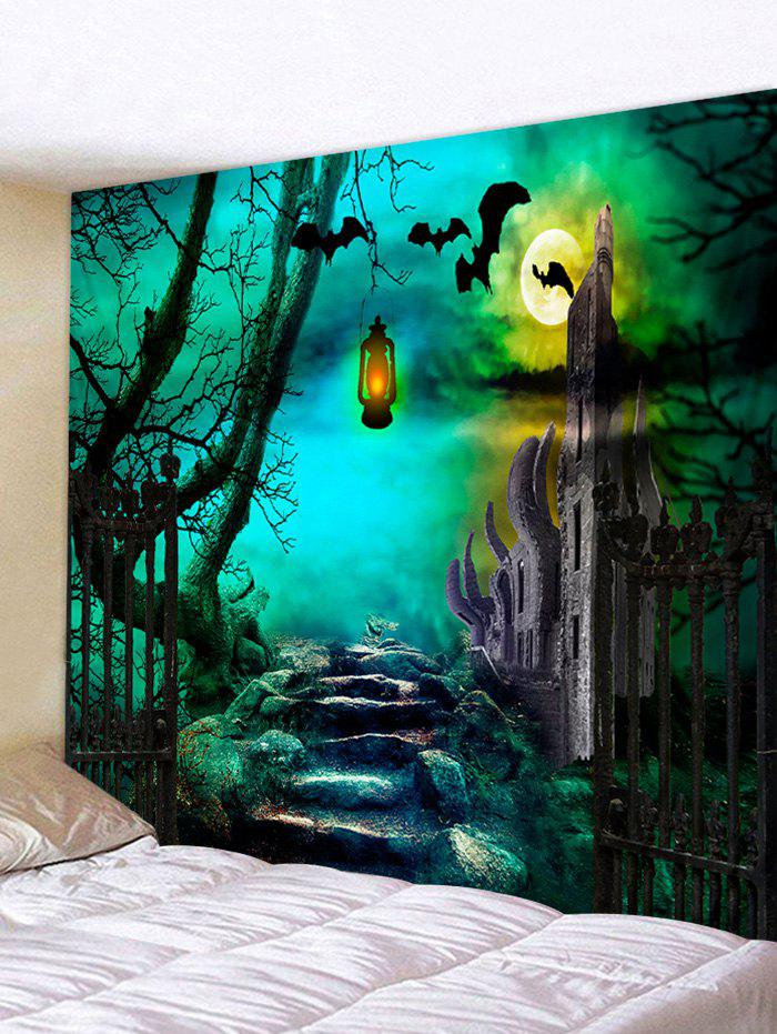 Discount Halloween Night Stone Road Printed Wall Hanging Tapestry