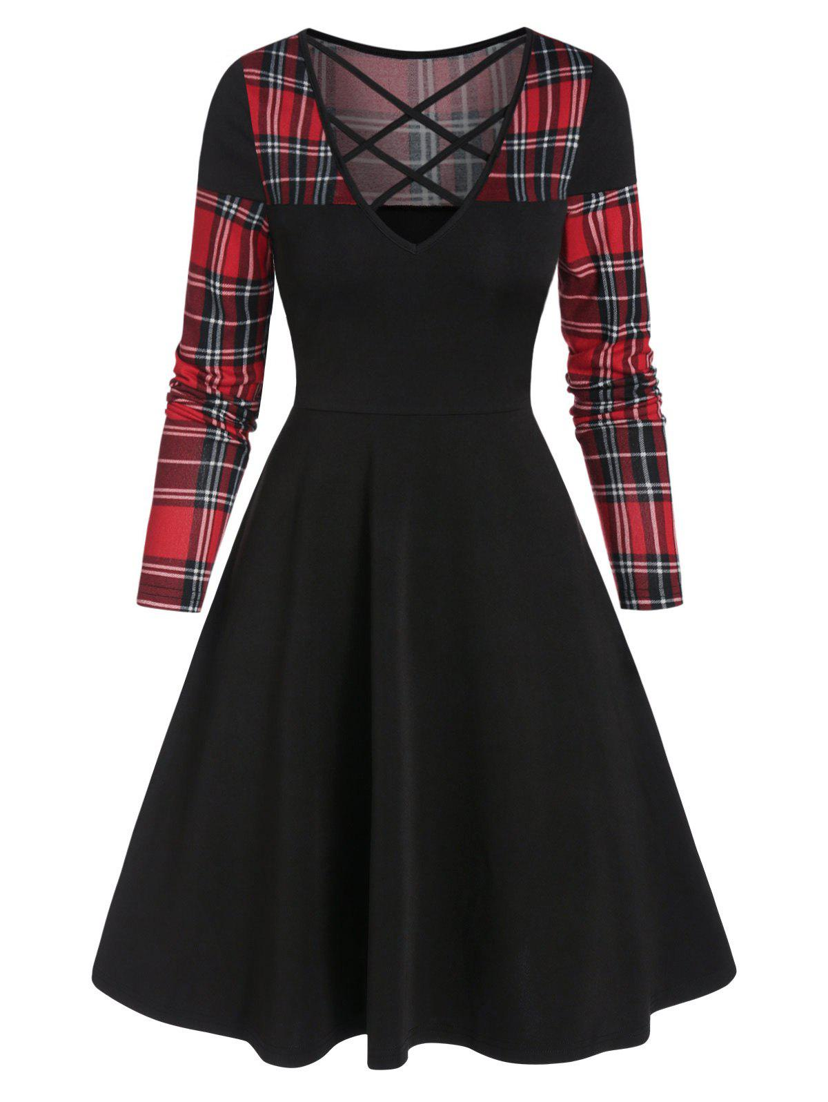 Outfit Plaid Panel Criss Cross Mini Long Sleeve Dress