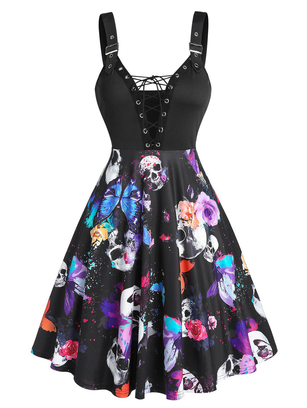 Chic Skull Butterfly Print Lace Up Mini Cami Dress