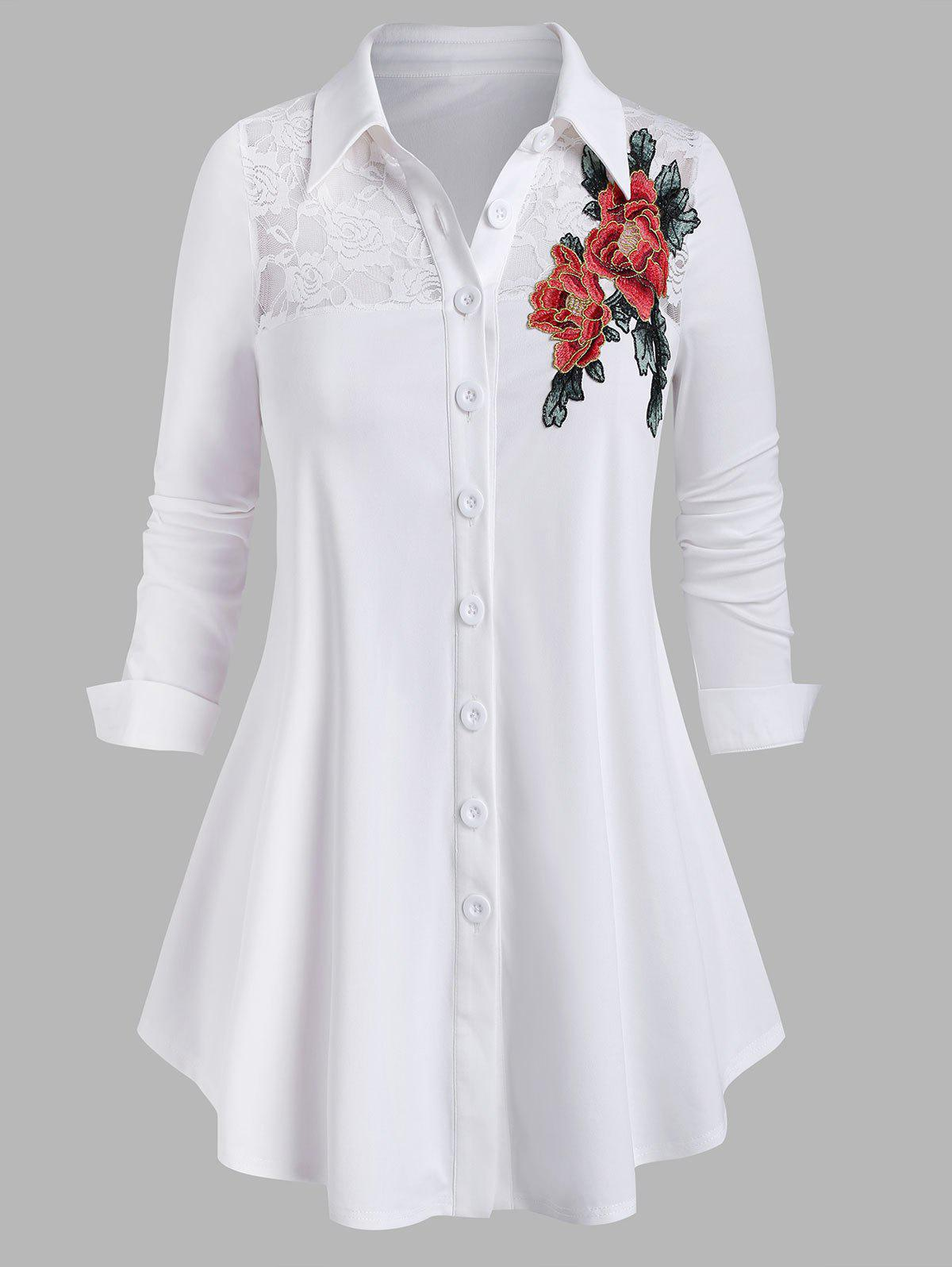 Affordable Plus Size Lace See Thru Flower Applique Button Up Shirt