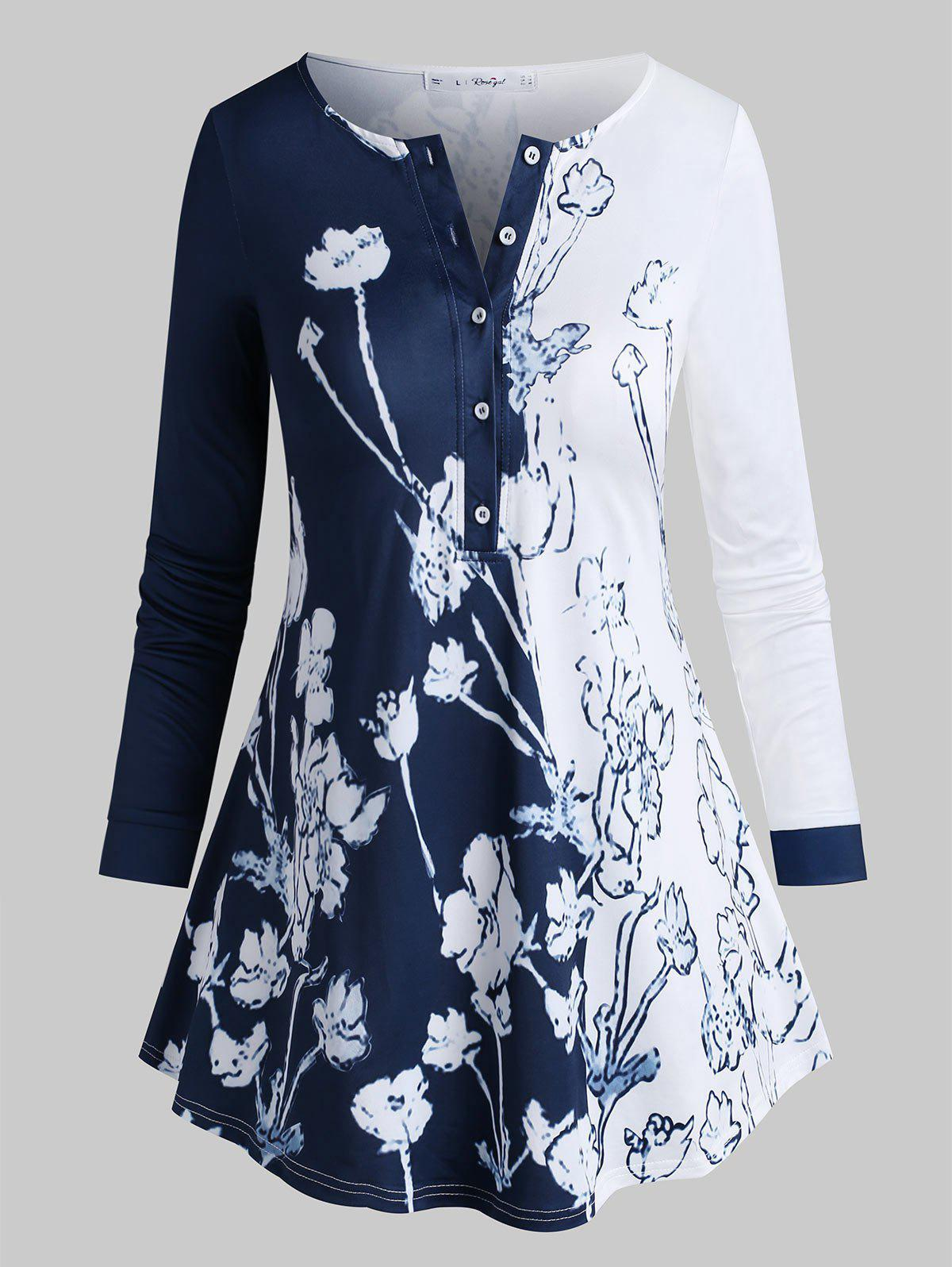 Outfit Plus Size Flower Pattern Half Placket Tunic Top