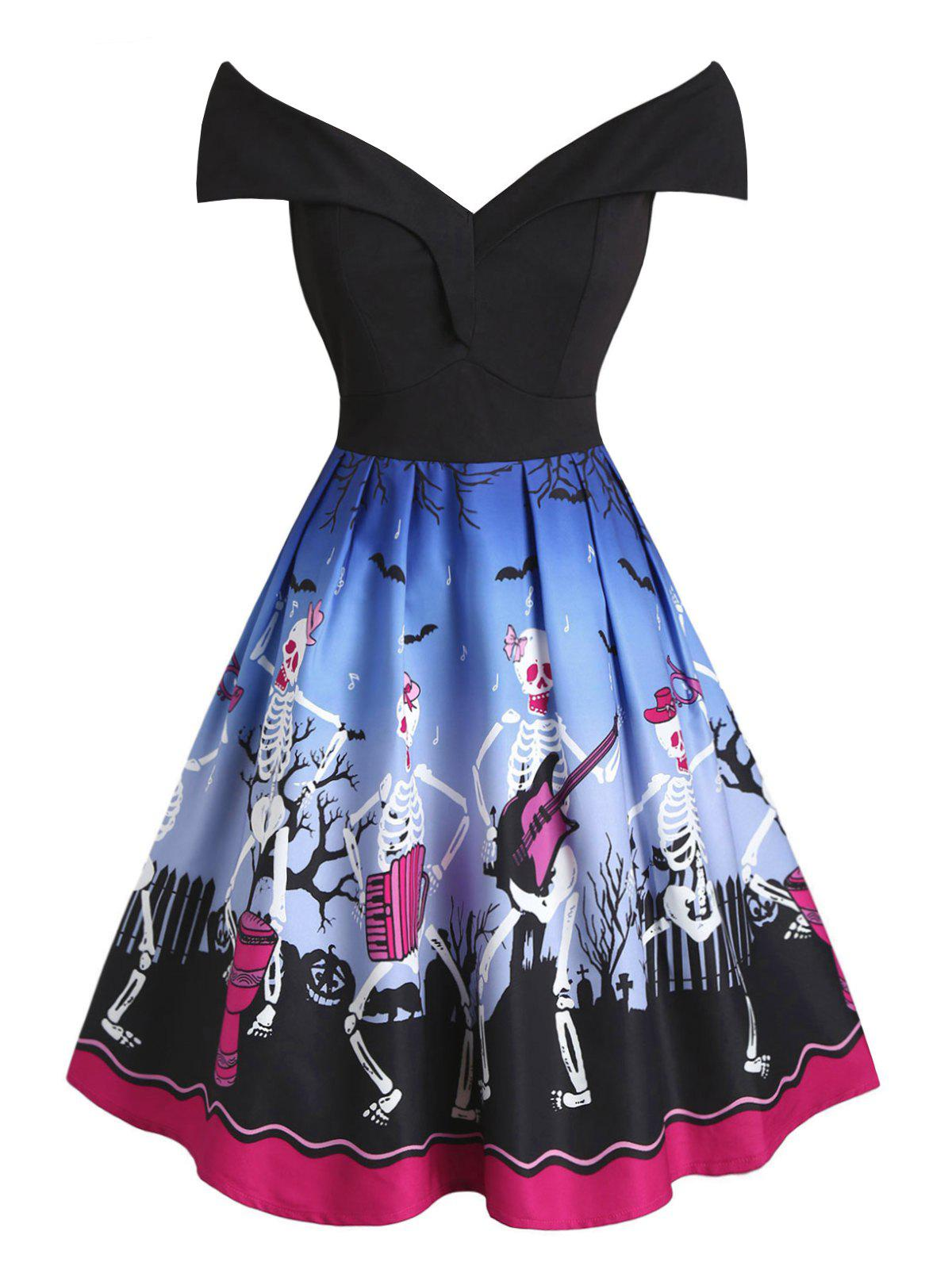 Discount Plus Size Halloween Off The Shoulder Skeleton Print Dress