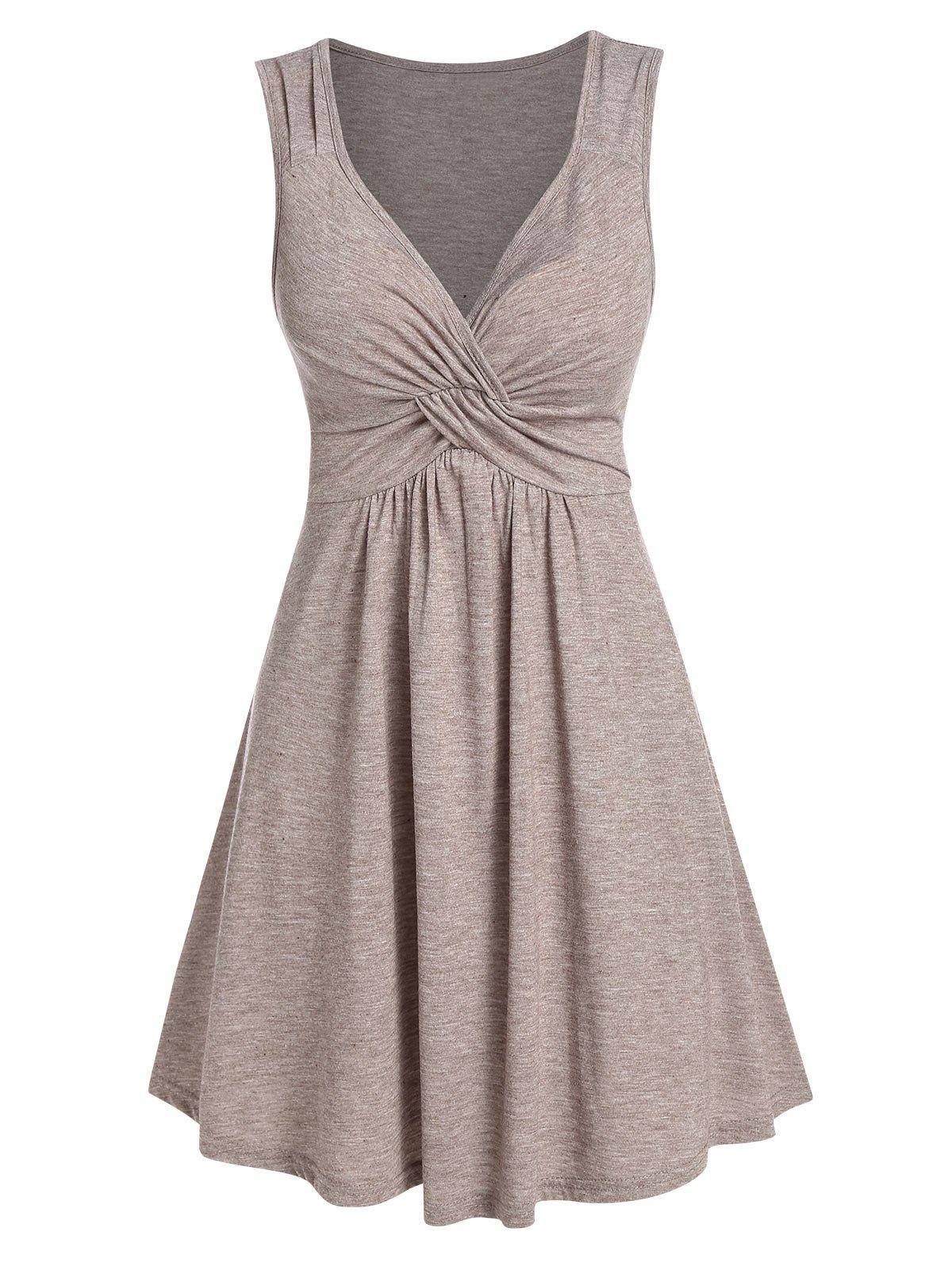 Affordable Front Knot Solid High Waist Dress