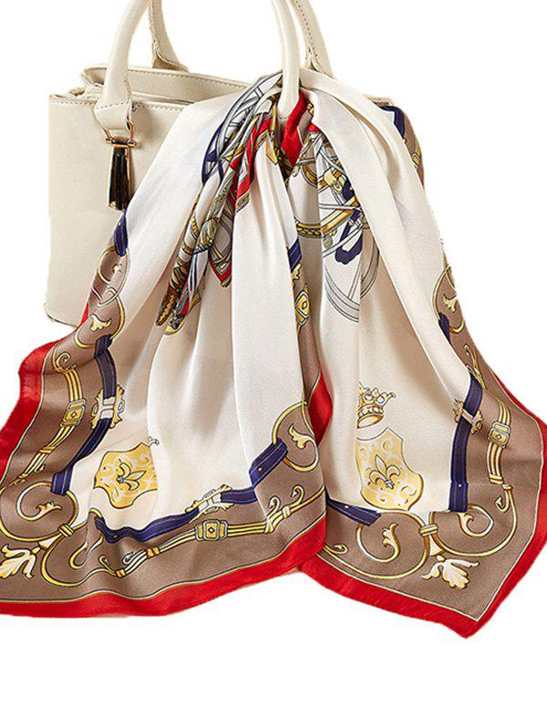 Fancy Printed Colorblock Satin Square Scarf
