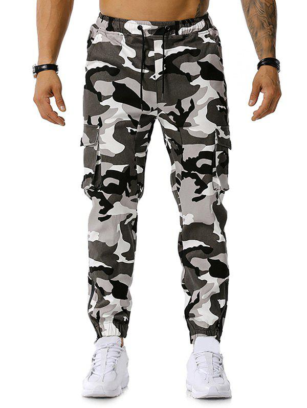 Store Camo Print Multi-pocket Drawstring Cargo Pants