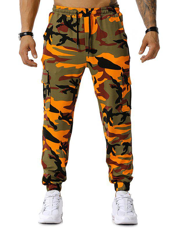 Pantalon de Jgging Cargo Camouflage Imprimé Orange L