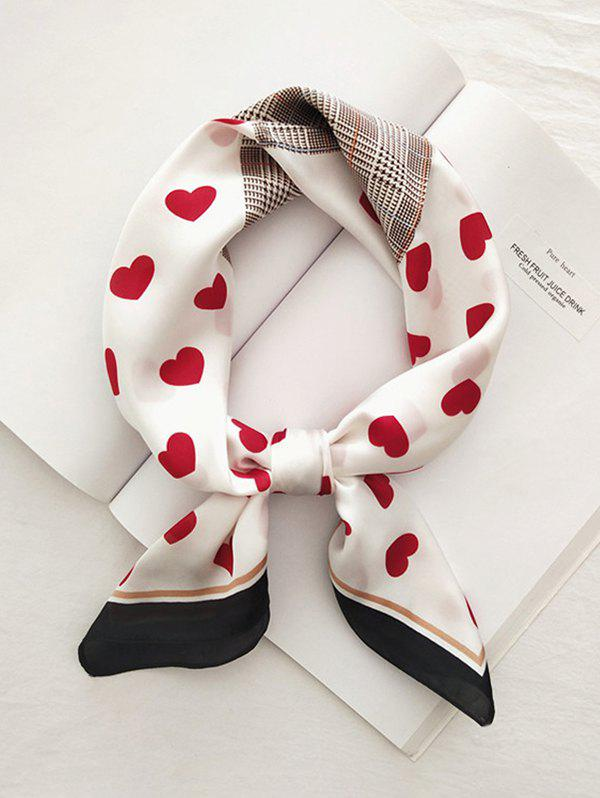 Chic Heart Plaid Houndstooth Printed Satin Square Scarf