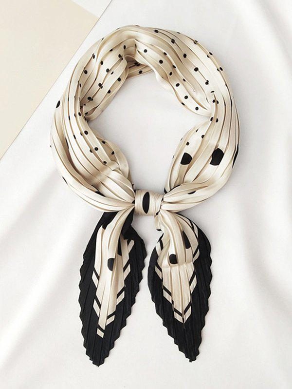 Best Dots Printed Satin Rhombic Pleated Scarf