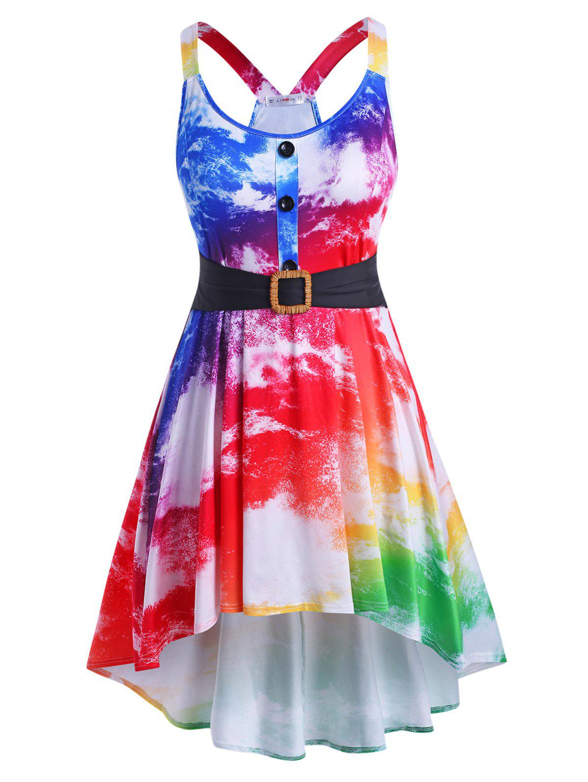 Affordable Mock Buttons High Low Tie Dye Plus Size Dress