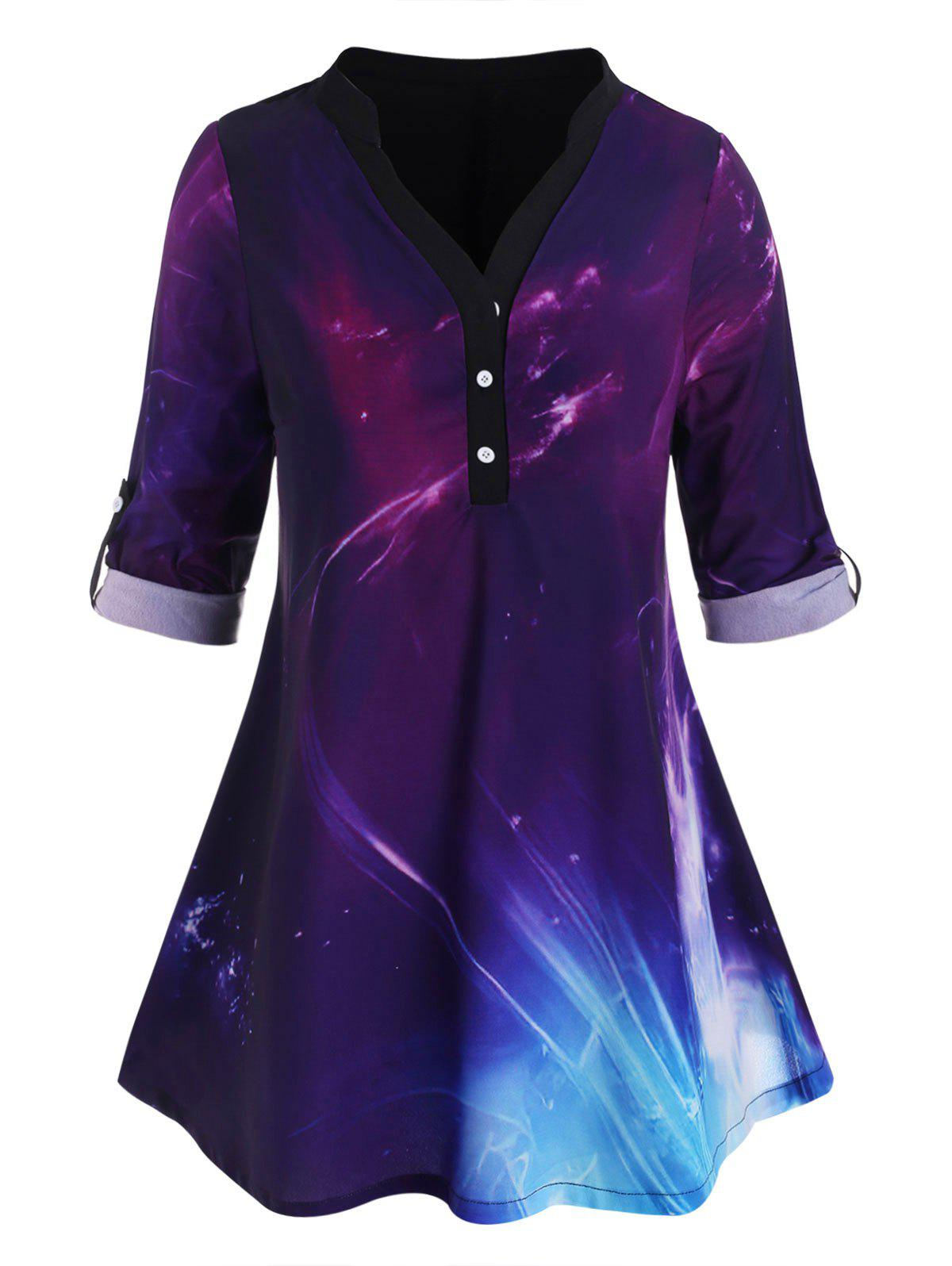 Button Front Tab Sleeve Galaxy Plus Size Top фото