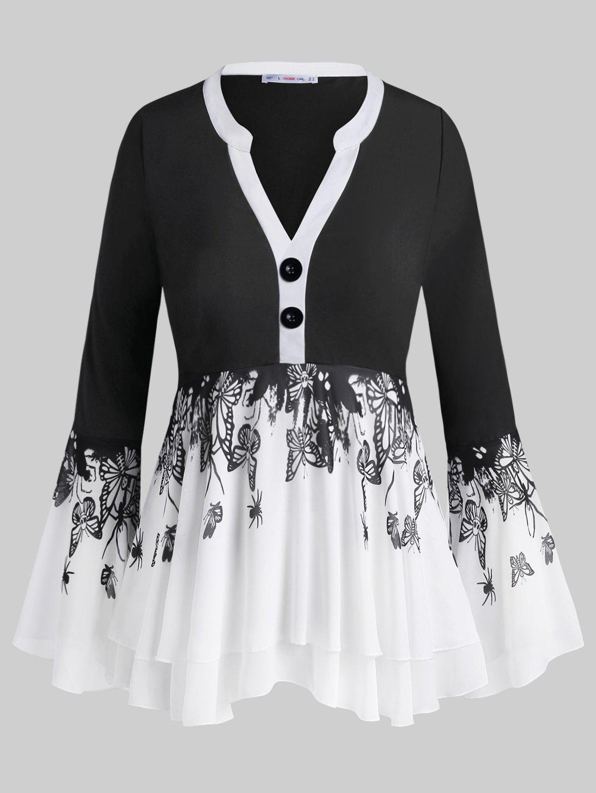 Trendy Button Front Layered Insect Butterfly Plus Size Blouse