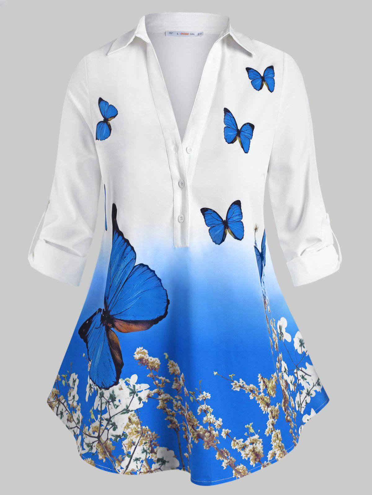 Sale Button Front Tab Sleeve Floral Butterfly Plus Size Shirt