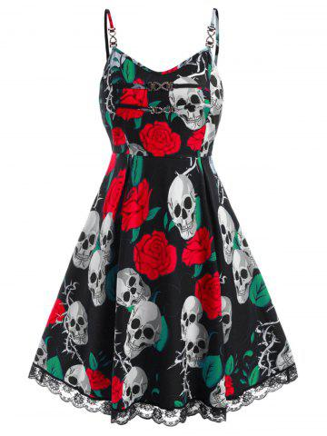 Chains Lace Trim Rose Skull Halloween Plus Size Dress - RED - L