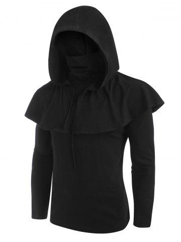 Gothic Hooded Cape and Mask Top Two Piece Sets - BLACK - XL