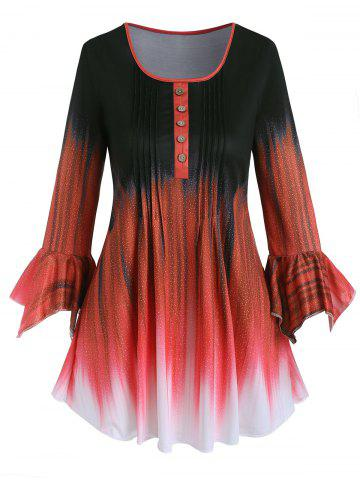 Plus Size Ombre Pintuck Hanky Sleeve Tunic Tee - RED - 2XL