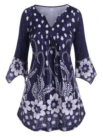 Plus Size Flower V Notch Hanky Sleeve Smock Top - DEEP BLUE - 2X