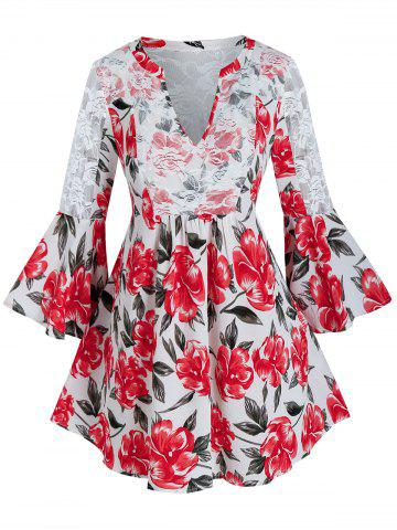 Plus Size Flower Print Lace See Thru Flare Sleeve Blouse