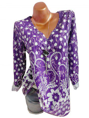 Plus Size Mixed Print V Neck Long Sleeve Blouse - CONCORD - XL