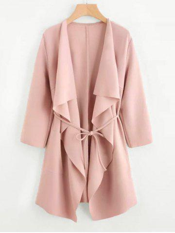 Plus Size Draped Front Belted Long Coat - LIGHT PINK - 4XL