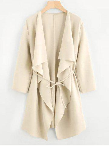 Plus Size Draped Front Belted Long Coat