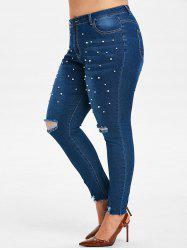 Plus Size High Rise Beaded Ripped Jeans -