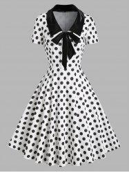 Polka Dot Velvet Insert Bowknot Flat Collar Dress -