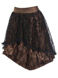 Flocking Leaf Lace Panel Ruffle Dip Hem Skirt -