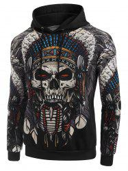 Indian Skull Tribal Print Casual Hoodie -