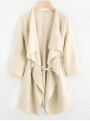 Plus Size Draped Front Belted Long Coat -