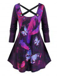 Plus Size Galaxy Feather Butterfly Pattern Tunic Cross Tee -