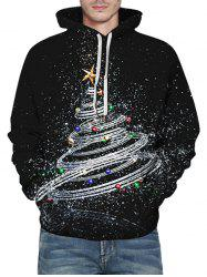 Shiny Christmas Tree Graphic Front Pocket Casual Hoodie -