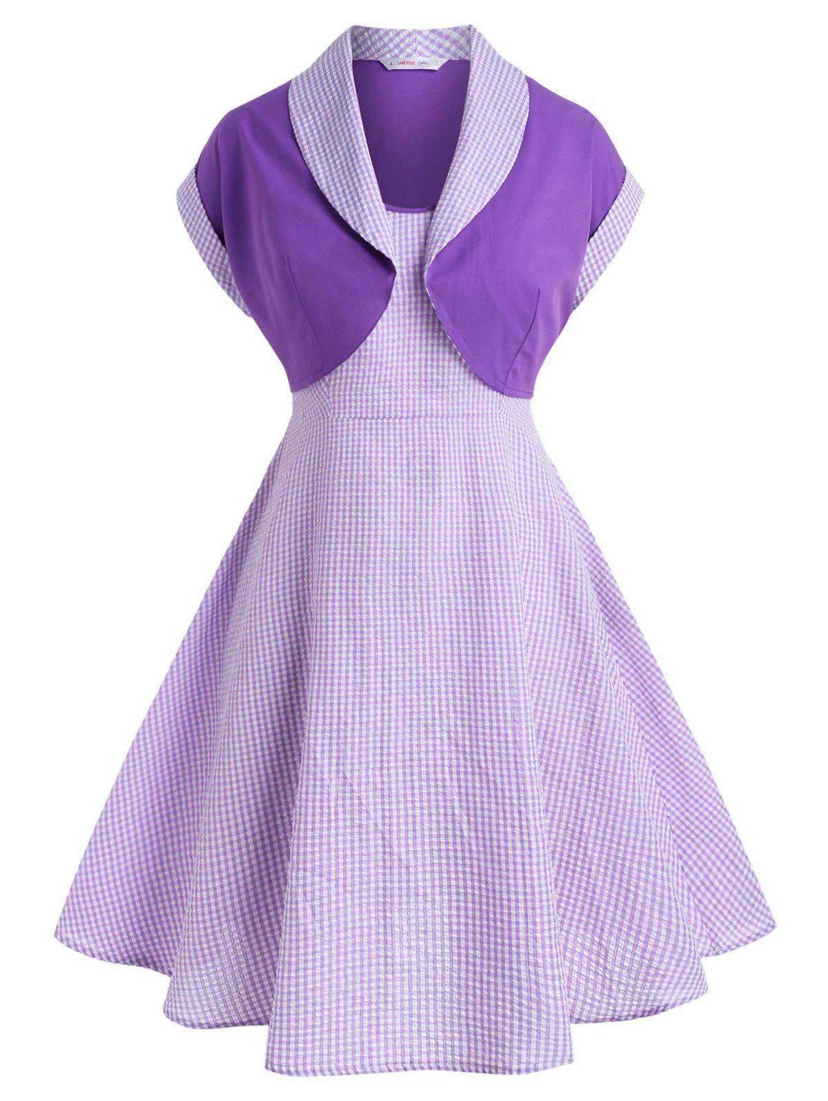 Chic Plus Size Gingham Top And Seersucker Cami Dress Set