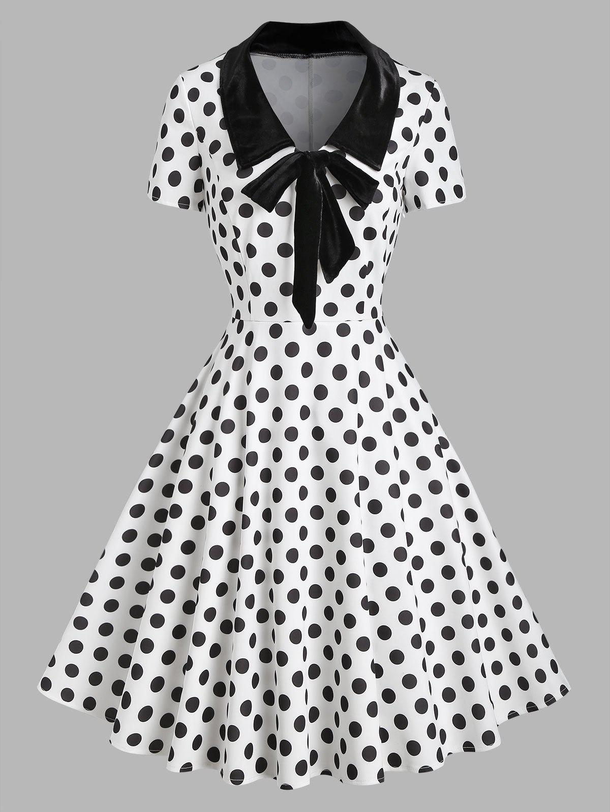 Latest Polka Dot Velvet Insert Bowknot Flat Collar Dress