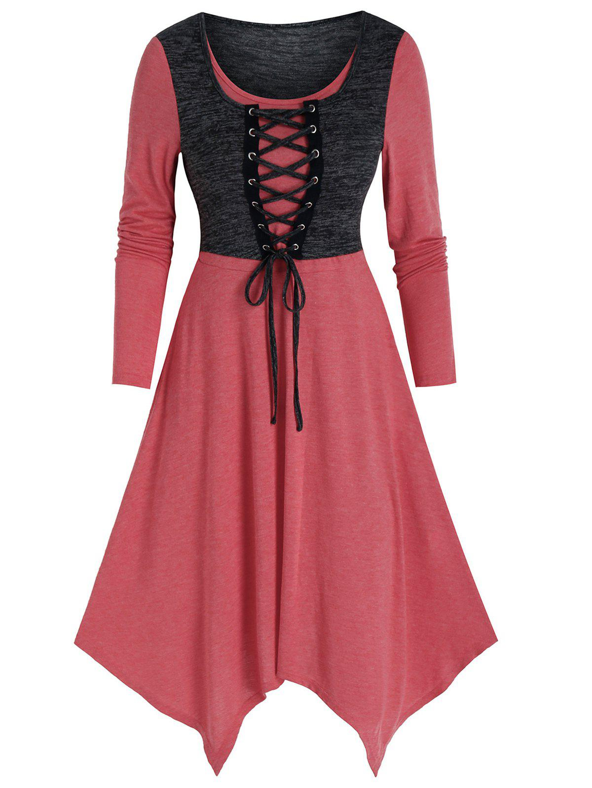Outfits 2 in 1 Lace Up Asymmetric Long Sleeve Dress