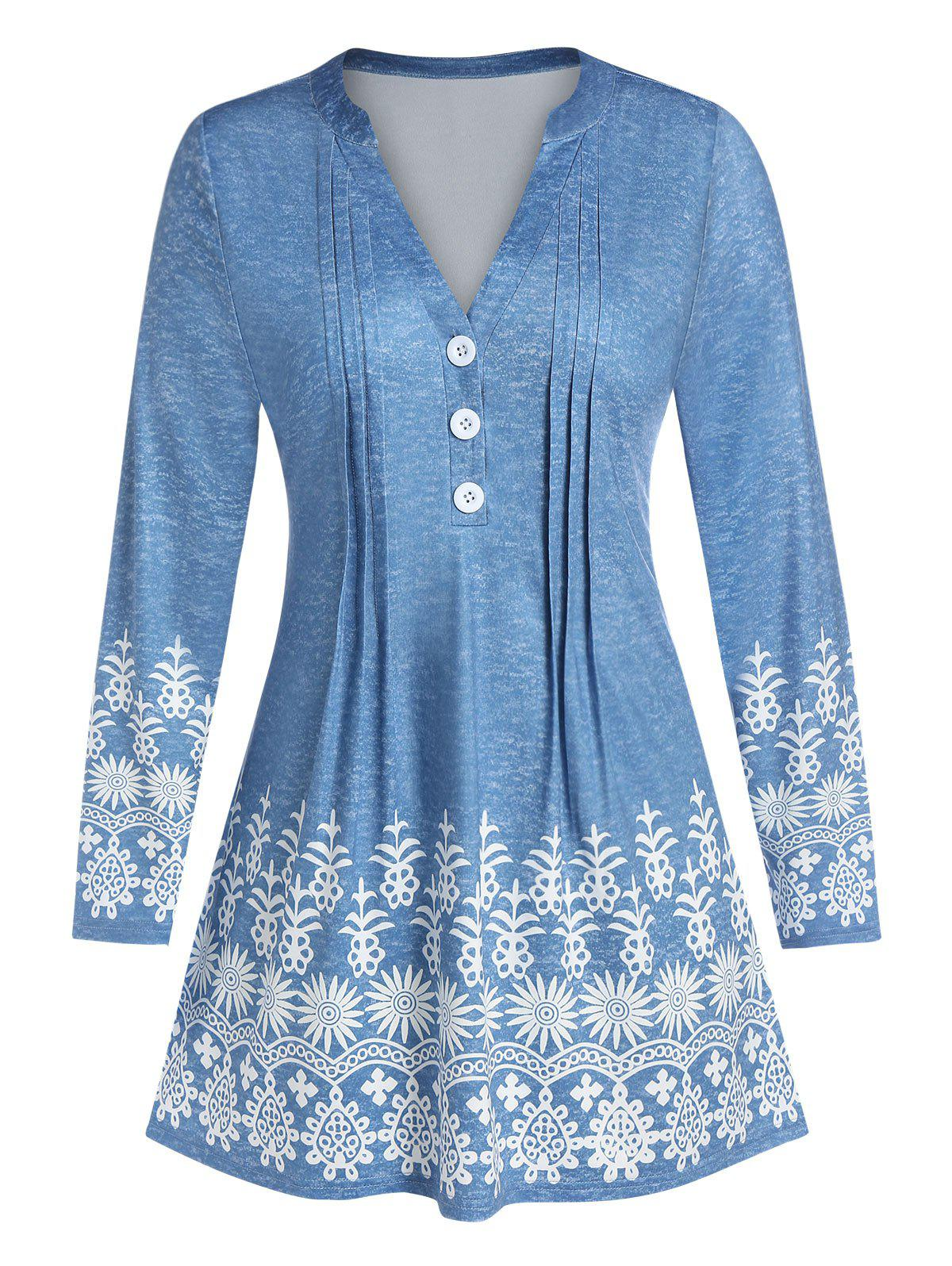 Hot Plus Size V Neck Floral Print Pleated Top