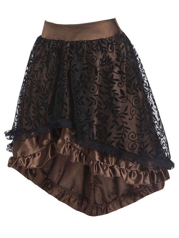 Buy Flocking Leaf Lace Panel Ruffle Dip Hem Skirt