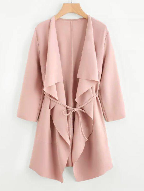 Unique Plus Size Draped Front Belted Long Coat