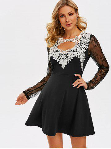 Cut Out Lace Insert Prom Dress