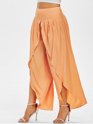 Knife Pleat Overlap Front Palazzo Pants - LIGHT ORANGE - L